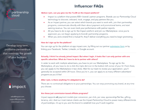 Influencer FAQ | Impact